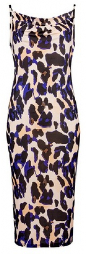 Dorothy Perkins Multi Colour Animal Print Jersey Cowl Neck Midi Camisole Dress