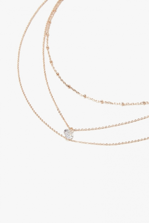 Forever21 Forever 21 Layered Charm , Rose Gold/clear Necklace