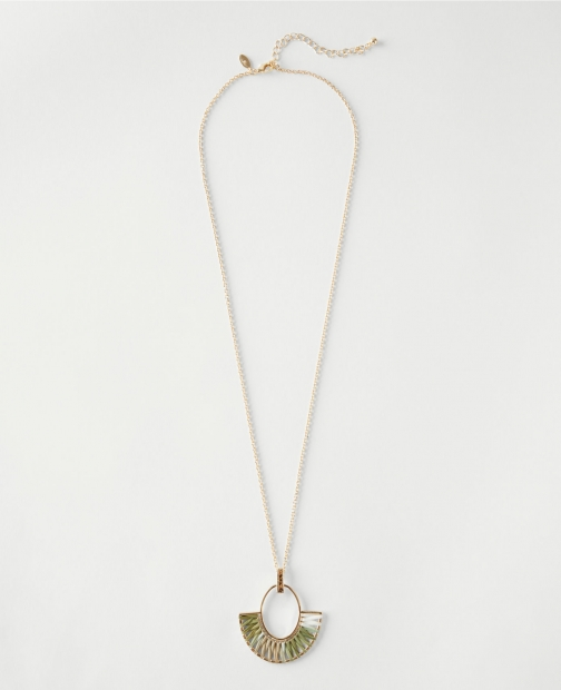 Ann Taylor Factory Wrapped Straw Pendant Necklace