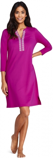 Lands' End Women's V-neck 3/4 Sleeve UV Protection Swim Cover-up Dress Embroidered - Lands' End - Pink - XS Swimwear