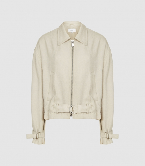 Reiss Sia - Point Collar Belted Neutral, Womens, Size 4 Jacket