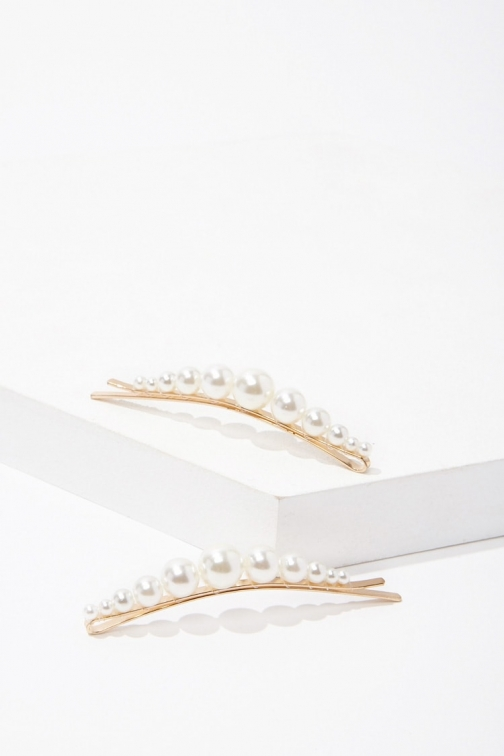 Forever21 Forever 21 Faux Pearl Bobby Set , Cream Pin