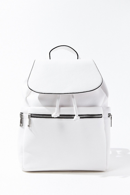 Forever21 Forever 21 Pebbled Faux Leather , White Backpack