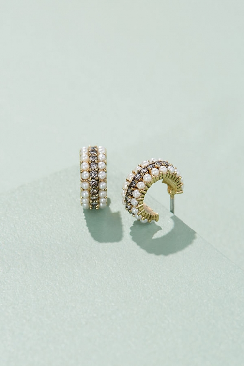 Anthropologie Jonnie Embellished Hoops Earring