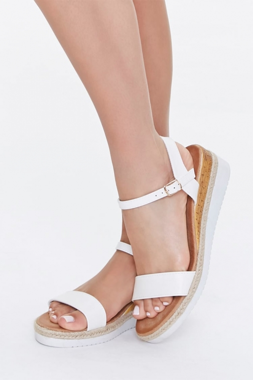 Forever21 Forever 21 Faux Leather Wedges , White Espadrille