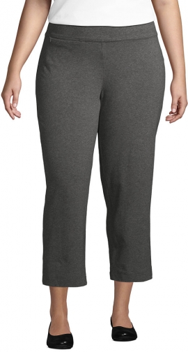 Lands' End Women's Plus Size Starfish Mid Rise Elastic Waist Pull On Crop Pants - Lands' End - Gray - 1X Trouser