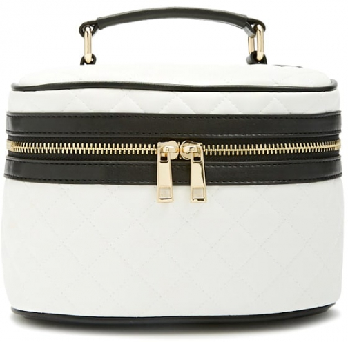 Forever21 Forever 21 Quilted Makeup Train White/black Case