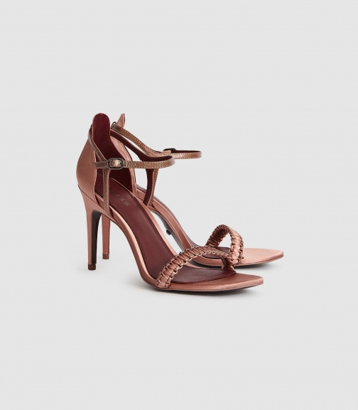 Reiss Linette - Woven Strappy Rose Gold, Womens, Size 7 Sandals