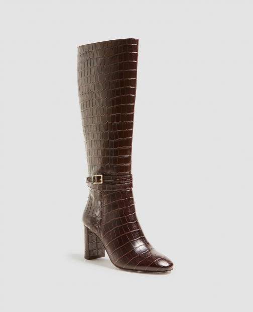 Ann Taylor Isabella Embossed Leather Buckle Boot