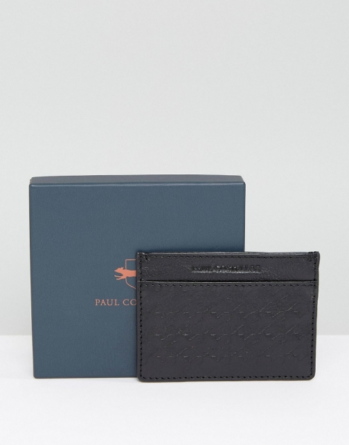 Paul Costelloe Leather Card Holder Textured Black Accessorie