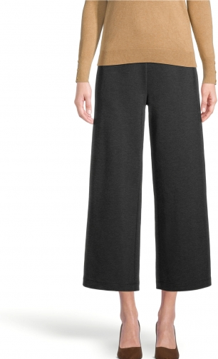 Ann Taylor Factory Petite Ponte Pull On Wide Leg Crop Pants Trouser