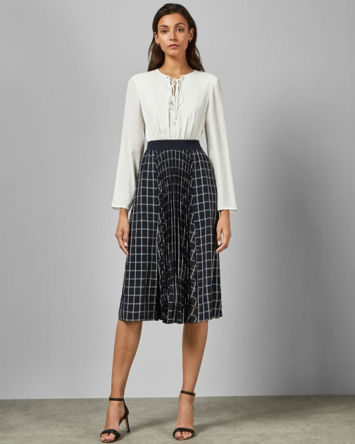 Ted Baker With Check Skirt Midi Dress