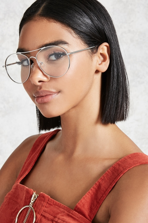 Forever21 Forever 21 Clear Aviator Readers , Silver/clear Eyewear