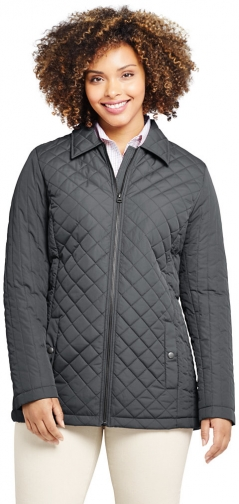 Lands' End Women's Plus Size Insulated Quilted Barn - Lands' End - Gray - 1X Jacket