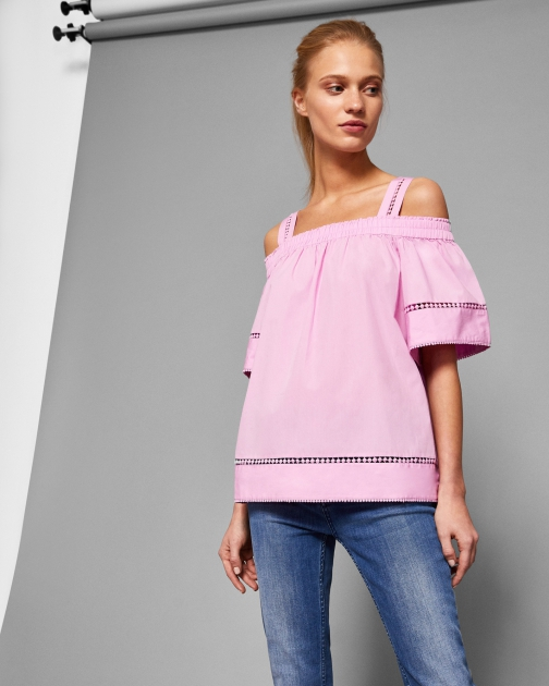 Ted Baker Cut Out Shoulder Cotton Top Shirt