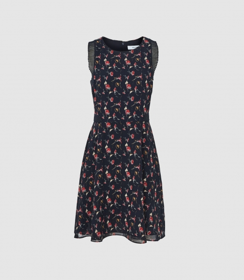 Reiss Louise - Floral Print Fit And Flare Navy, Womens, Size 6 Dress