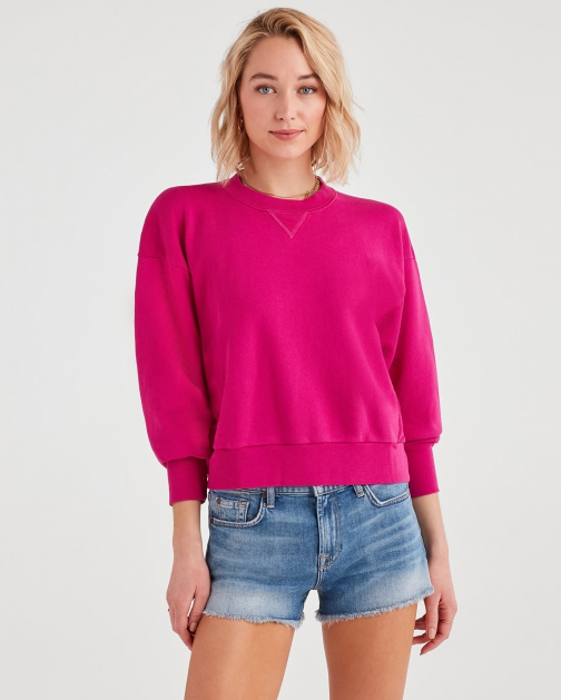 7 For All Mankind Women's Crewneck Electric Pink Sweatshirt
