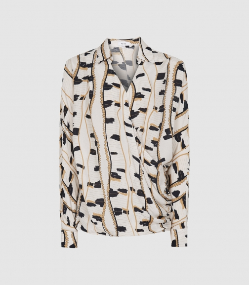 Reiss March - Printed Wrap Front Neutral, Womens, Size 10 Blouse