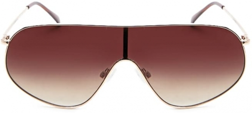 Forever21 Forever 21 Premium Metal Angled Aviator , Gold/brown Sunglasses