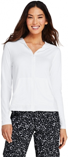 Lands' End Women's Hooded Full Zip Long Sleeve Rash Guard UPF 50 Sun Protection Cover-up Pockets - Lands' End - White - XS Swimwear