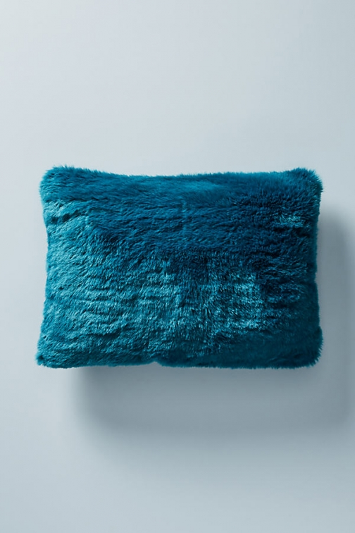 "Anthropologie Fireside Faux-Fur Cushion - Blue, Size 14"" X 20 Faux Fur"
