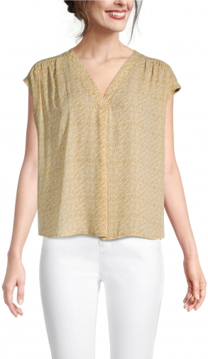 Ann Taylor Factory Geo V-Neck Mixed Media Top Shirt