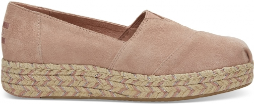 Toms TOMS Bloom Suede Women's Platform Espadrilles Shoes - Size UK4 / US6 Espadrille