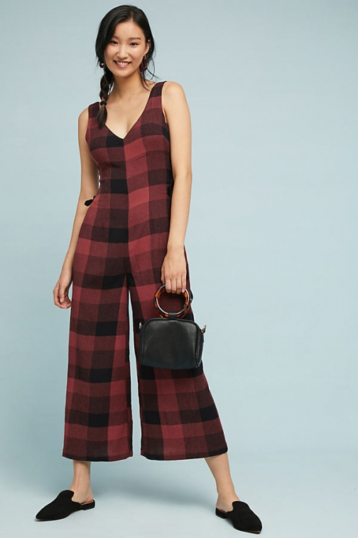 Anthropologie Checked Wide-Leg - Assorted, Size Uk Jumpsuit