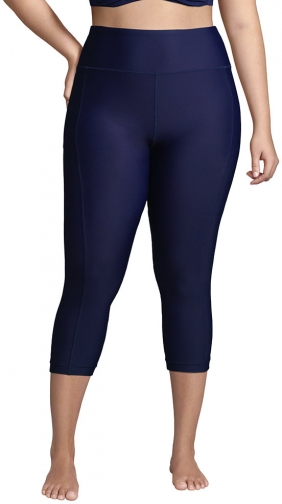 Lands' End Women's Plus Size Chlorine Resistant High Waisted Modest Swim With UPF 50 Sun Protection - Lands' End - Blue - 1X Legging