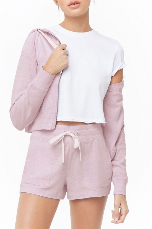 Forever21 Forever 21 Active Heathered Drawstring , Lilac Short