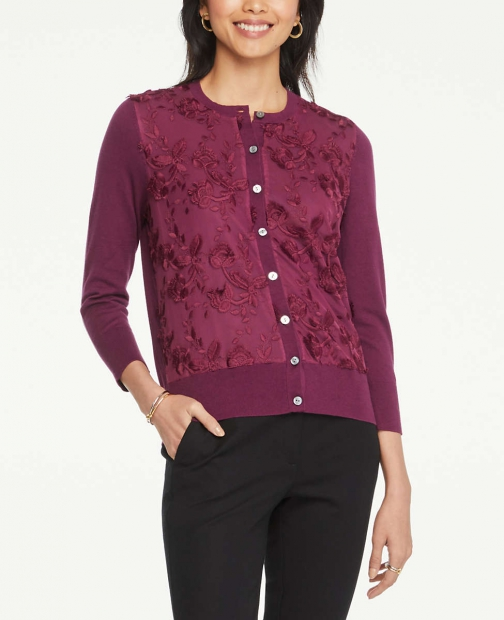 Ann Taylor Lace Front Crew Neck Cardigan