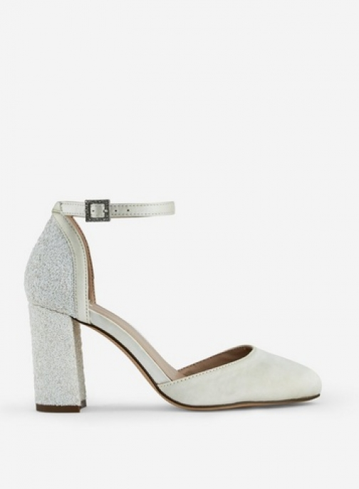 Dorothy Perkins Wide Fit White 'Mimosa' Glitter Block Heel Shoes Court