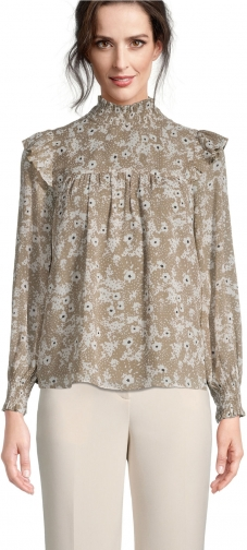 Ann Taylor Factory Petite Floral Smocked Ruffle Blouse
