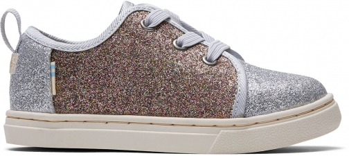 Toms Silver Gold Iridescent Glimmer Tiny TOMS Lenny Elastic Sneakers Shoes Trainer