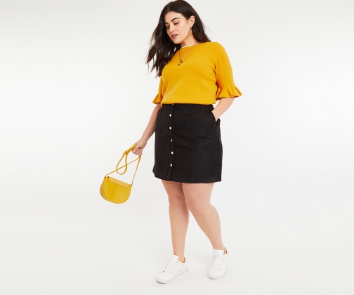 Oasis Curve Faux Suede Mini Skirt