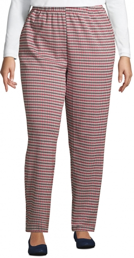Lands' End Women's Plus Size Sport Knit High Rise Elastic Waist Pull On Pant - Print - Lands' End - Red - 1X Trouser
