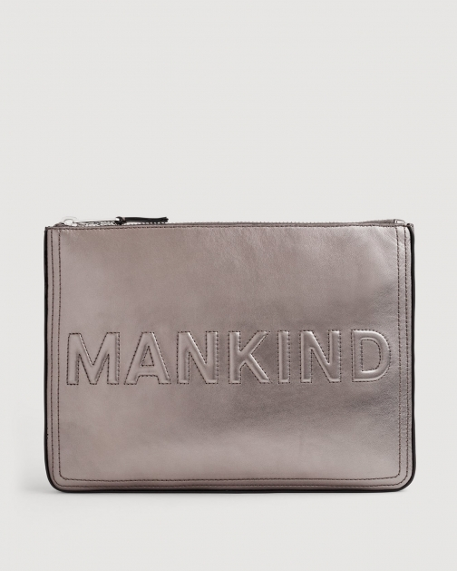 7 For All Mankind Large Mankind Metal Pewter Clutch