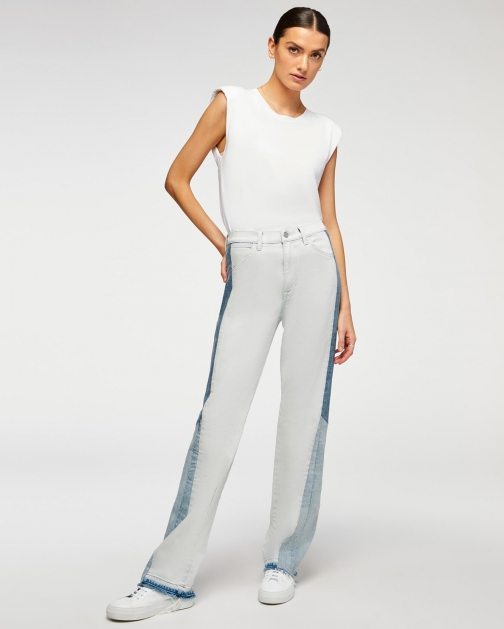 7 For All Mankind Womens Flare With Let Down Hem Coldwater Patchwork Size: 30 Trouser