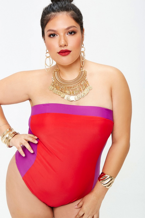 Forever21 Plus Forever 21 Plus Size Colorblock One-Piece Red/purple Swimsuit