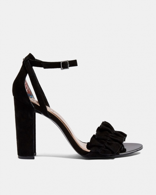 Ted Baker Ruffle Detail Heeled Leather Sandals