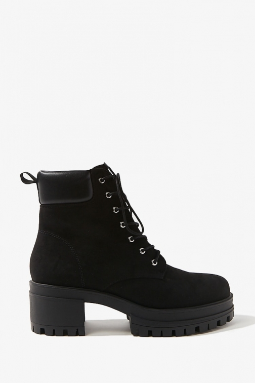 Forever21 Forever 21 Faux Suede Combat , Black Boot