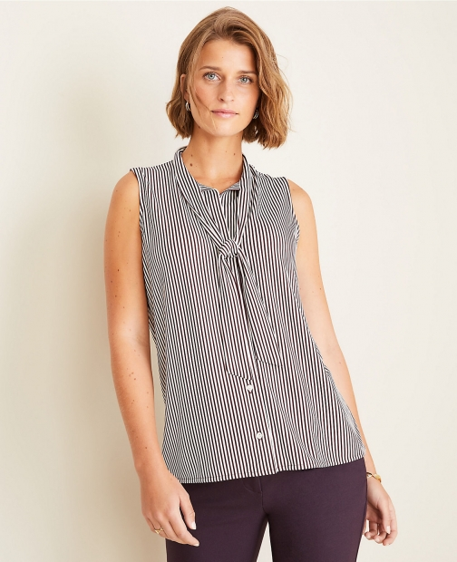 Ann Taylor Striped Neck Button Down Shell Tie