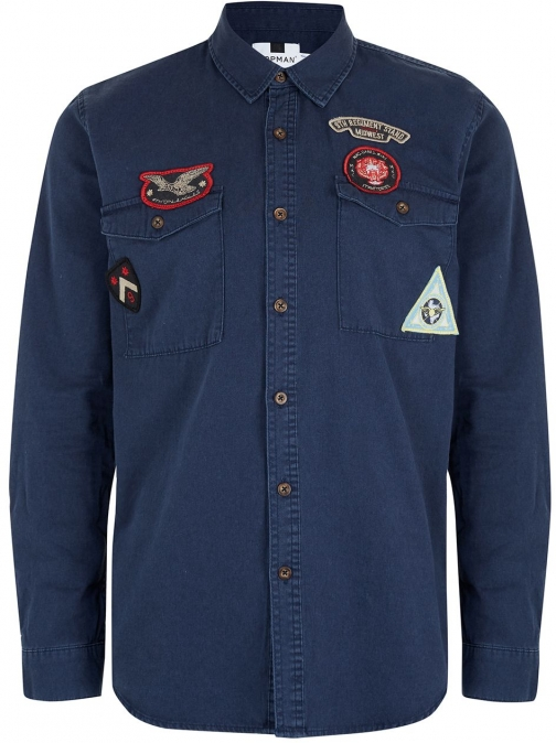 Topman Men's Topman Long Sleeve Badged Twill Shirt