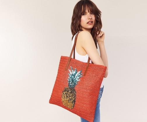 Oasis Pineapple Straw Bag Tote