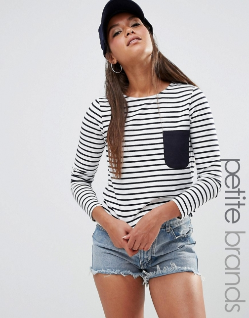 Asos Noisy May Petite Striped Tee With Contrast Pocket Detail T-Shirt