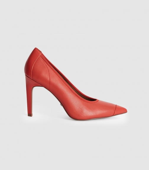 Reiss Lowri - Leather Point Toe Shoes Coral, Womens, Size 3 Court