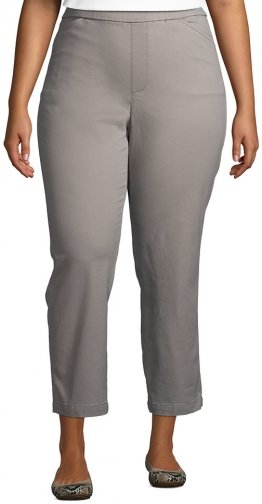Lands' End Women's Plus Size Mid Rise Pull On Crop Pants - Lands' End - Gray - 16W Chino
