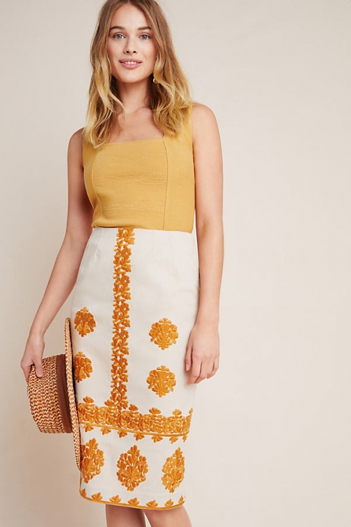 Anthropologie Verona Embroidered Pencil Skirt