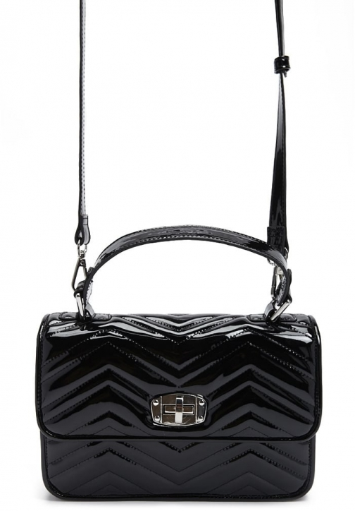 Forever21 Forever 21 Faux Patent Leather , Black Satchel