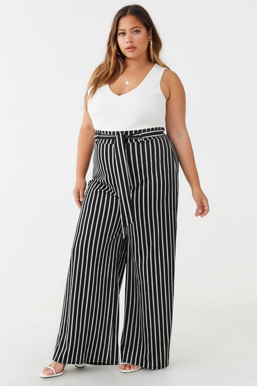 Forever21 Plus Forever 21 Plus Size Striped , Ivory/black Jumpsuit